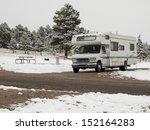 rv campsite in snow at estes...   Shutterstock . vector #152164283