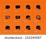 message bubble icons on orange...