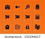 real estate icons on orange...