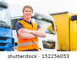 logistics   proud driver or... | Shutterstock . vector #152256053