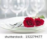 romantic restaurant table... | Shutterstock . vector #152279477