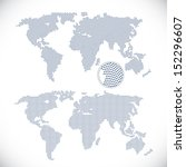 two dotted world maps  | Shutterstock . vector #152296607