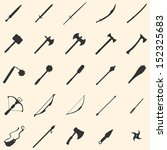 Vector set of 25 medieval weapon icons