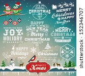 Christmas decoration collection of calligraphic and typographic design with labels, symbols and icons elements | Shutterstock vector #152346707