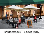 A vector illustration of people enjoying coffee outside of a cafe