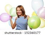 happy girl with balloons | Shutterstock . vector #152360177