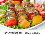 grilled meat on skewers with... | Shutterstock . vector #152363687