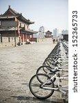bicycles in xian city wall ...