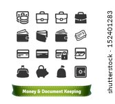 Stock vector money and document keeping icons for e commerce and business 152401283