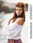 pretty young hippie caucasian... | Shutterstock . vector #152402027