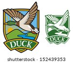 mallard duck flying emblem (bird duck, flying duck, hunting ducks symbol) - stock vector