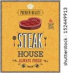 vintage steak house poster.... | Shutterstock .eps vector #152449913