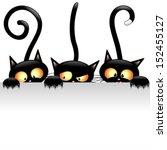 Funny Black Cats Cartoon With...
