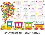2014 calendar with cartoon train | Shutterstock .eps vector #152473823