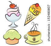 set of four items. desserts and ... | Shutterstock .eps vector #152480807