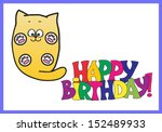 happy birthday card with a cat | Shutterstock .eps vector #152489933