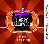 pumpkin shape retro stylized... | Shutterstock .eps vector #152497247