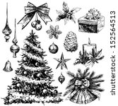 christmas hand drawn elements | Shutterstock .eps vector #152564513