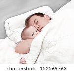 Father And The Newborn Sleep