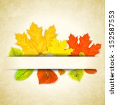 autumn leaves on scratched... | Shutterstock . vector #152587553
