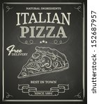 Italian pizza poster on black chalkboard - stock vector