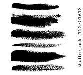 black brush vector strokes set | Shutterstock .eps vector #152701613