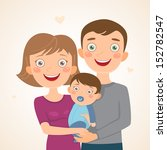 new family with boy. happy... | Shutterstock .eps vector #152782547
