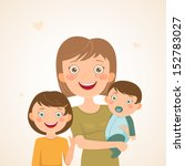 mother with children. happy... | Shutterstock .eps vector #152783027