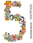 number 5 isolated on a white... | Shutterstock . vector #152797223
