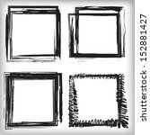 vector set of grunge rectangle... | Shutterstock .eps vector #152881427