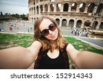 pretty young girl tourist in... | Shutterstock . vector #152914343