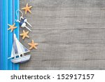 sailboat and starfishes on... | Shutterstock . vector #152917157