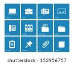 office icons on blue background....