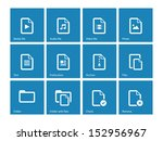 set of files icons on blue...