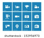 camera icons on blue background....
