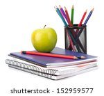 Notebook Stack And Pencils....