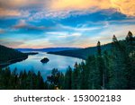 Stock photo high angle view of a lake lake tahoe sierra nevada california usa 153002183