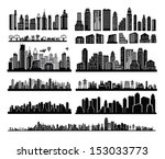 vector black city icons set on... | Shutterstock .eps vector #153033773