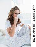 attractive woman resting in bed ...   Shutterstock . vector #153061577