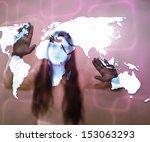 girl using touch screen world... | Shutterstock . vector #153063293