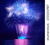 Blue Colorful Fireworks On The...
