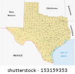 texas county map - stock vector