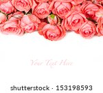 pink roses on white background   Shutterstock . vector #153198593