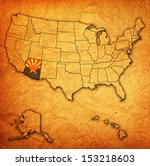 arizona on old vintage map of... | Shutterstock . vector #153218603