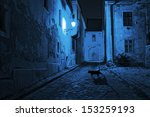 Stock photo black cat crosses the deserted street at night 153259193