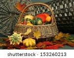 Colorful Pumpkins In Basket...