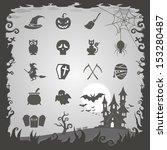 halloween icons with halloween... | Shutterstock .eps vector #153280487