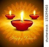 artistic hindu diwali bright... | Shutterstock .eps vector #153295403