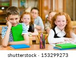 portrait of happy school... | Shutterstock . vector #153299273