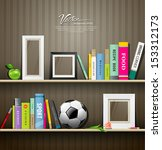 row of colorful books  soccer... | Shutterstock .eps vector #153312173